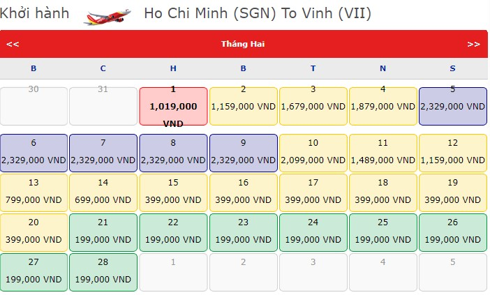 Vé máy bay Hồ Chí Minh - Vinh