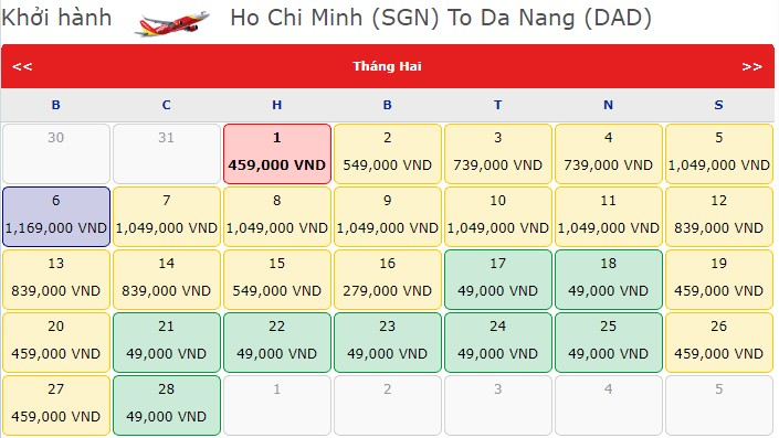 Vé máy bay Hồ Chí Minh - Đà Nẵng