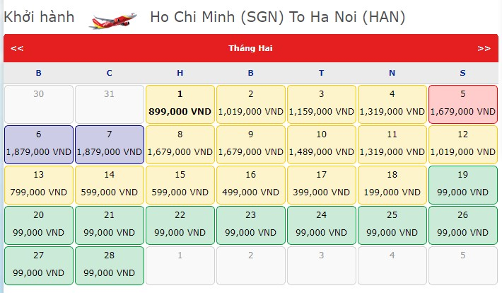 Vé máy bay Tết 2021 của Vietjet